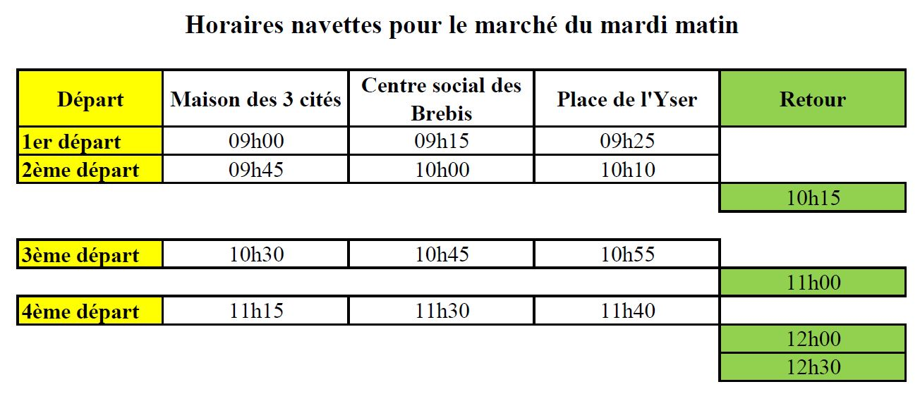 horaires navettes march ciasfpa